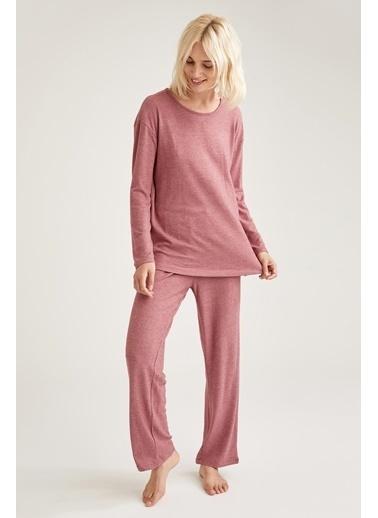 Defacto –Fit Basic Relax Fit Pijama Takımı Bordo